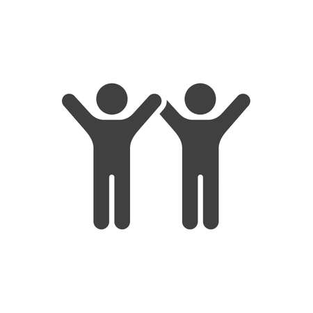 Friends with raised hands  icon. filled flat sign for mobile concept and web design. People friendship glyph icon. Ilustração
