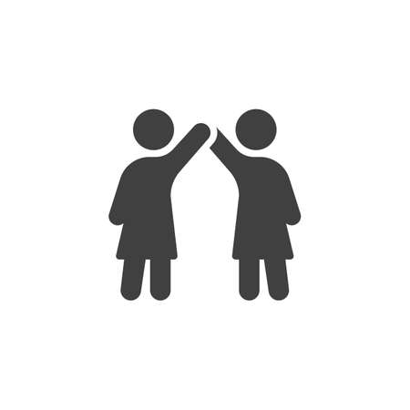 Girlfriends give five each other icon. filled flat sign for mobile concept and web design. Couple with raising hands glyph icon. Illustration