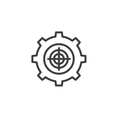 Gear target line icon. linear style sign for mobile concept and web design. Target settings outline icon.