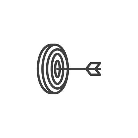 Archery target aim line icon. linear style sign for mobile concept and web design. Arrow hit target outline icon. Goal and achievement symbol Иллюстрация