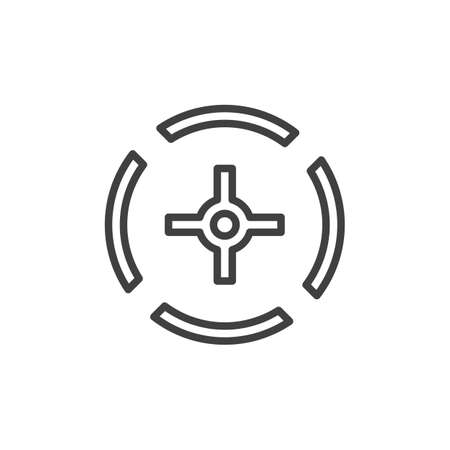 Sniper gun target line icon. linear style sign for mobile concept and web design. Crosshair aim outline icon.