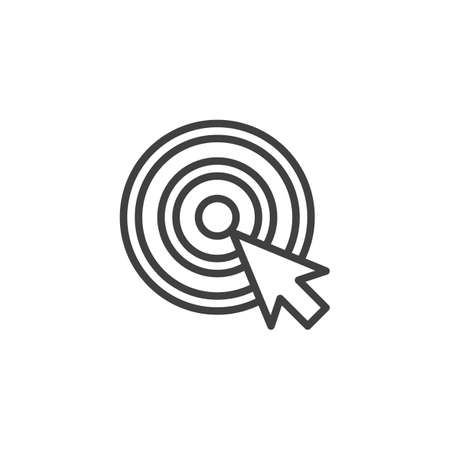 Target and cursor line icon. linear style sign for mobile concept and web design. Arrow center click outline icon.