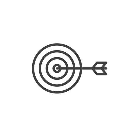 Target with dart line icon. linear style sign for mobile concept and web design. Target and arrow outline icon. Goal and achievement symbol