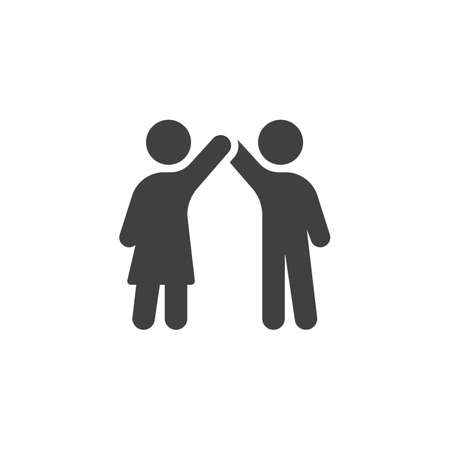 Two people giving high five each other icon. filled flat sign for mobile concept and web design. Friendship and relationship glyph icon.
