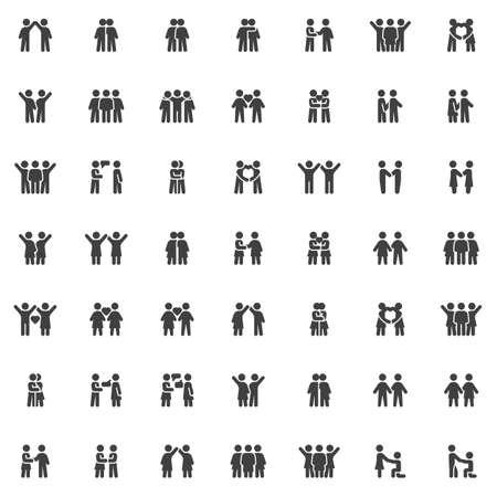 People relationship icons set, Friendship modern solid symbol collection, filled style pictogram pack. Ilustração
