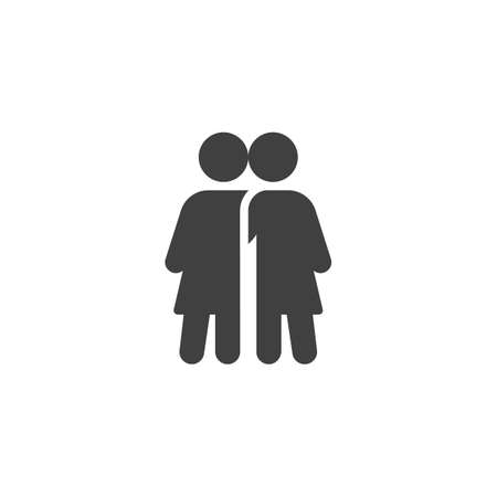 Two girl friends icon. filled flat sign for mobile concept and web design.