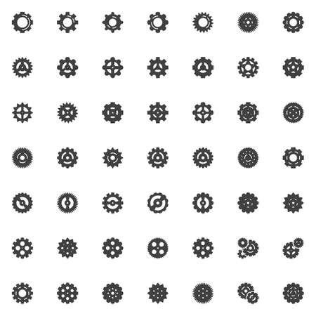 Gear vector icons set, modern solid symbol collection, filled style pictogram pack. Signs, logo illustration. Set includes icons as cogwheel, cog mechanism, setting gear, wheel, configuration