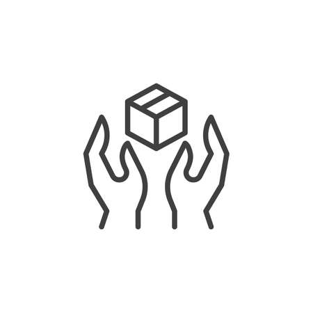 Hands with box line icon. linear style sign for mobile concept and web design. Package delivery outline vector icon