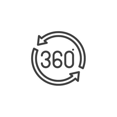 360 rotation sign line icon. Panoramic view linear style sign for mobile concept and web design. 360 degrees arrow outline vector icon. VR technology symbol