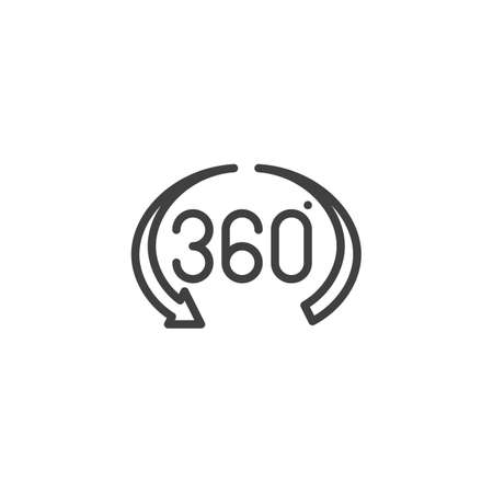 360 Degree View line icon. Panoramic view linear style sign for mobile concept and web design. 360 rotation arrow outline vector icon. VR technology symbol Illustration