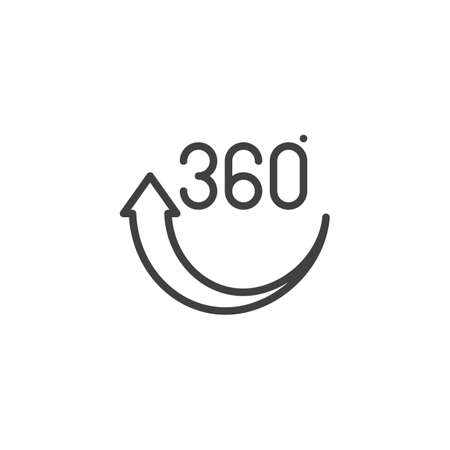 360 rotation arrow line icon. Panoramic view linear style sign for mobile concept and web design. 360 Degree View outline vector icon. VR technology symbol