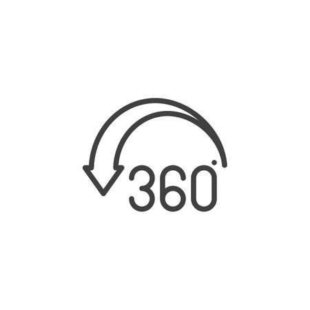 Angle 360 degree arrow line icon. Panoramic view linear style sign for mobile concept and web design. 360 rotation sign outline vector icon. VR technology symbol Illustration