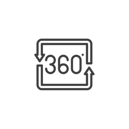 360 degrees square arrow line icon. Panoramic view linear style sign for mobile concept and web design. 360 rotation sign outline vector icon. VR technology symbol Illustration