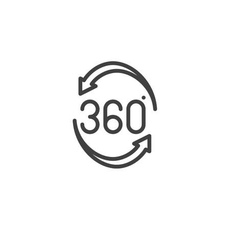 Rotate 360 degrees arrow line icon. Panoramic view linear style sign for mobile concept and web design. 360 rotation sign outline vector icon. VR technology symbol Illustration