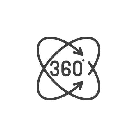 Full rotation sign line icon. Panoramic view linear style sign for mobile concept and web design. Rotate 360 degrees arrow outline vector icon. VR technology symbol Illustration