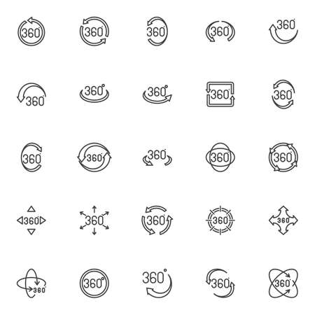360 degree view line icons set. linear style symbols collection, outline signs pack. vector graphics. Set includes icons as panoramic view, rotation 360 degrees arrow, VR technology, angle rotate