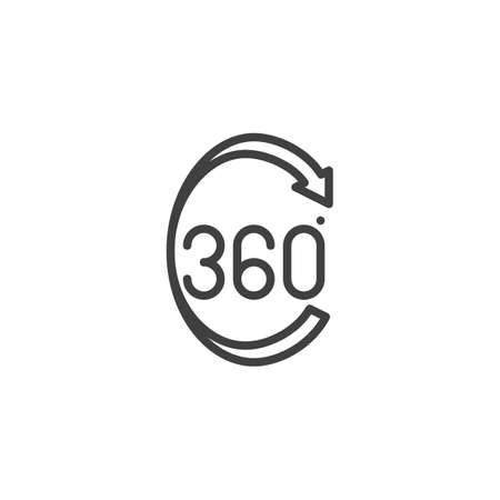 360 degrees arrow line icon. Panoramic view linear style sign for mobile concept and web design. 360 rotation sign outline vector icon. VR technology symbol