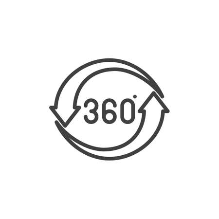 360 rotation sign line icon. Panoramic view linear style sign for mobile concept and web design. 360 degrees arrows outline vector icon. VR technology symbol Illustration