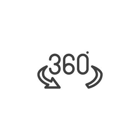 360 degree arrow line icon. Panoramic view linear style sign for mobile concept and web design. 360 rotation sign outline vector icon. VR technology symbol