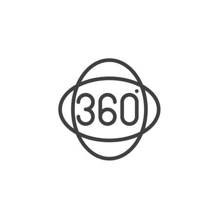Full rotation sign line icon. Panoramic view linear style sign for mobile concept and web design. 360 degrees sign outline vector icon. VR technology symbol