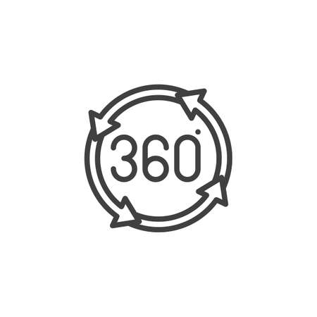 360 degrees rotation arrows line icon. Panoramic view linear style sign for mobile concept and web design. Full rotation sign outline vector icon. VR technology symbol