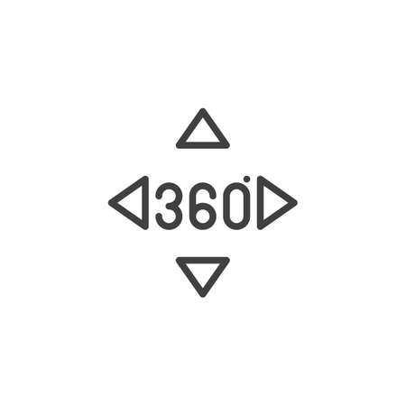 360 degrees controller buttons line icon. Panoramic view linear style sign for mobile concept and web design. 360 rotation sign outline vector icon Illustration