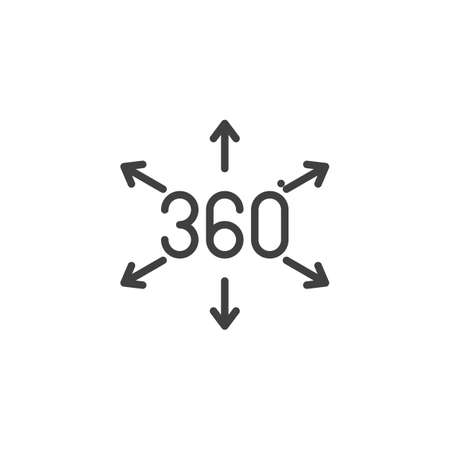 360 degrees direct arrows line icon. Panoramic view linear style sign for mobile concept and web design. 360 rotation sign outline vector icon. VR technology symbol, logo illustration