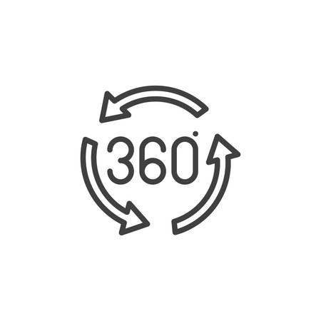 360 degrees arrow line icon. Panoramic view linear style sign for mobile concept and web design. 360 rotation sign outline vector icon. VR technology symbol, logo illustration. Vector graphics Illustration