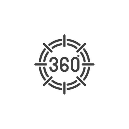 360 degrees view line icon. Panoramic view linear style sign for mobile concept and web design. 360 rotation sign outline vector icon. VR technology symbol, logo illustration. Vector graphics Illustration
