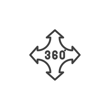 360 degrees control arrow line icon. Panoramic view linear style sign for mobile concept and web design. 360 rotation sign outline vector icon Illustration