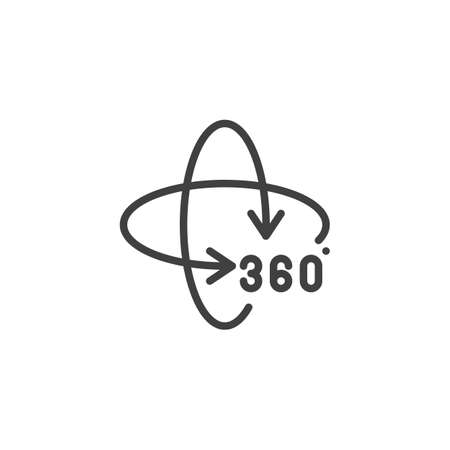 Rotate 360 degrees arrow line icon. Panoramic view linear style sign for mobile concept and web design. 360 rotation sign outline vector icon Illustration