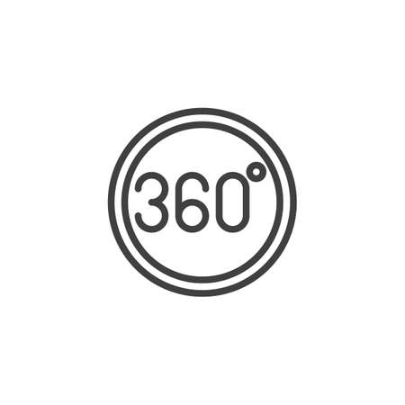 360 degrees button line icon. Panoramic view linear style sign for mobile concept and web design. 360 rotation sign outline vector icon. VR technology symbol Illustration