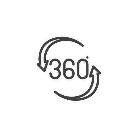 360 rotation sign line icon. Panoramic view linear style sign for mobile concept and web design. Rotate 360 degrees outline vector icon. VR technology symbol Illustration