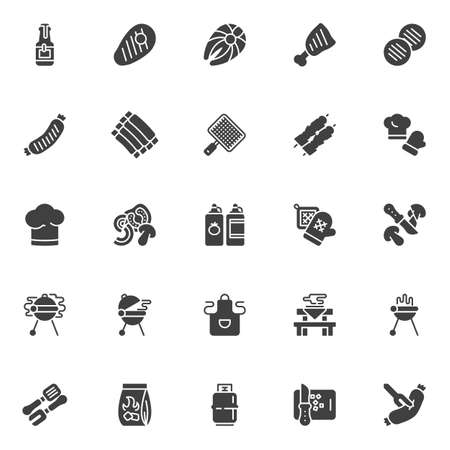 Barbeque grill vector icons set, modern solid symbol collection, filled style pictogram pack. Signs, illustration. Set includes icons as BBQ beef steak, roasted sausage, smoked ribs, grilled fish