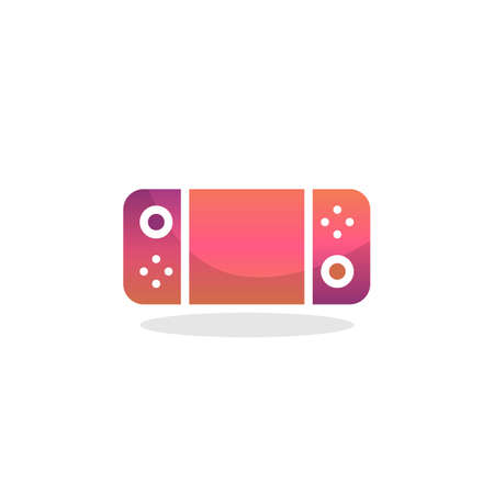 Portable game console flat icon, vector sign, Gamepad with display and buttons colorful pictogram isolated on white