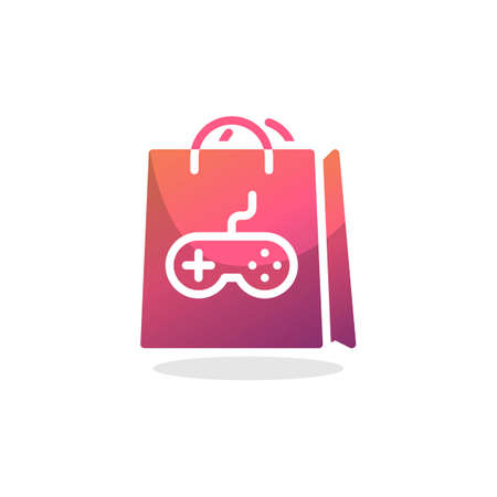 Shopping bag with game controller flat icon, vector sign, Gamer shopping bag colorful pictogram isolated on white. Symbol, logo illustration. Flat style design