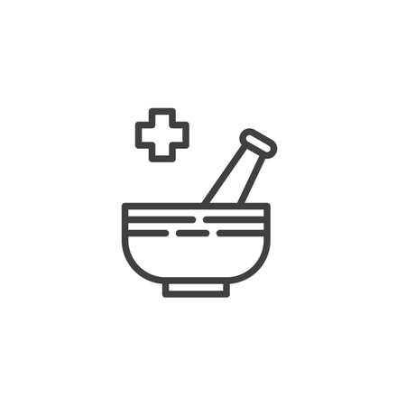 Mortar and pestle line icon. linear style sign for mobile concept and web design. Pharmaceutical medicine outline vector icon. Symbol, logo illustration. Vector graphics