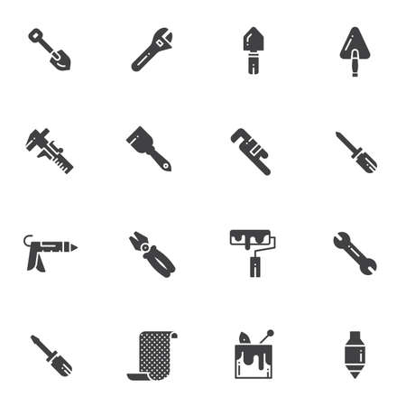 Home repair tool vector icons set, modern solid symbol collection, filled style pictogram pack. Signs, logo illustration. Set includes icons as screwdriver, wrench, construction trowel, paint roller, pliers, caliper