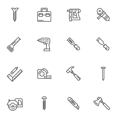 Repair tool line icons set. linear style symbols collection outline signs pack. vector graphics. Set includes icons as hammer drill, tool box, hand saw, screw bolt, electric screwdriver, measure tape