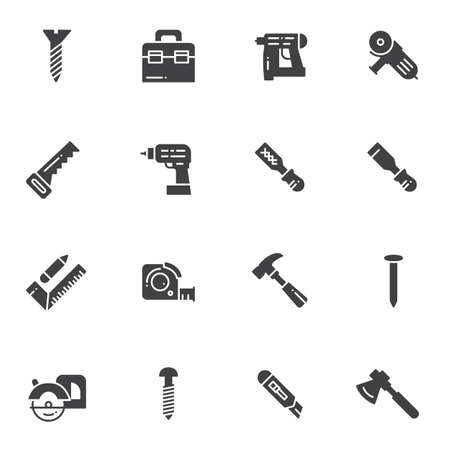 Repair tool vector icons set, modern solid symbol collection, filled style pictogram pack. Signs, logo illustration. Set includes icons as hammer drill, tool box, hand saw, screw bolt, screwdriver