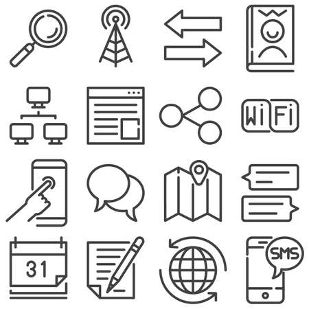 Communication line icons set. linear style symbols collection, outline signs pack. vector graphics. Set includes icons as broadcast antenna, transfer arrows, link share, chat message, computer network Иллюстрация