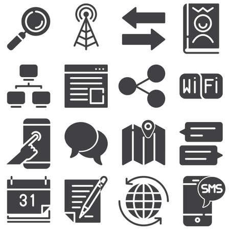 Communication vector icons set, modern solid symbol collection, filled style pictogram pack. Signs logo illustration. Set includes icons as broadcast antenna, transfer arrows, link share, chat message Иллюстрация