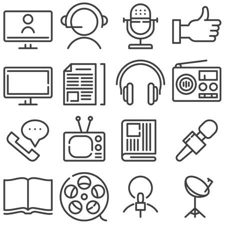 Media communication line icons set. linear style symbols collection, outline signs pack. vector graphics. Set includes icons as support call center, microphone, radio, television, social network