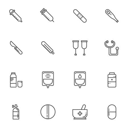 Medical line icons set. linear style symbols collection, outline signs pack. vector graphics. Set includes icons as syringe, thermometer, scalpel, stethoscope, medicine pills, dripper, blood bag
