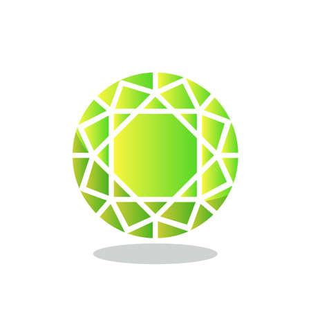 Rundes Diamantkristall-Flachsymbol, Vektorzeichen, Smaragd-Edelstein-buntes Piktogramm, isoliert auf weiss. Symbol, Logoillustration. Flaches Design