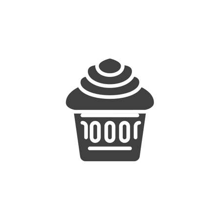 Cupcake vector icon. filled flat sign for mobile concept and web design. Cup cake glyph icon. Symbol, logo illustration. Vector graphics Ilustração