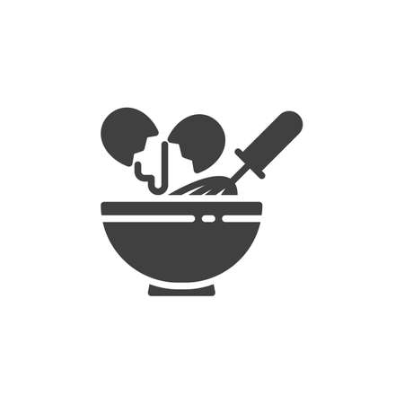 Egg beating vector icon. filled flat sign for mobile concept and web design. Cooking with egg beater whisk and bowl glyph icon. Symbol, logo illustration. Vector graphics