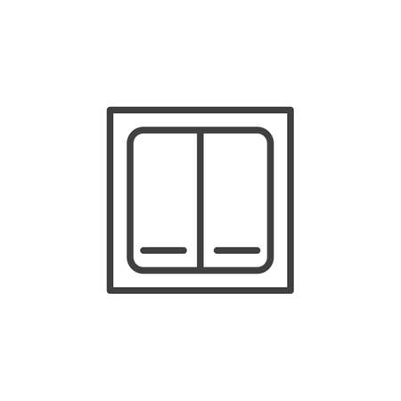 Electric switch line icon. linear style sign for mobile concept and web design. Double switch outline vector icon. Symbol, logo illustration. Vector graphics Çizim