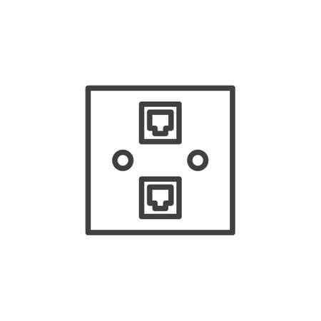 Icona della linea della presa di rete Ethernet. segno di stile lineare per il concetto mobile e il web design. Icona di vettore del contorno della doppia porta Ethernet. Simbolo, illustrazione del logo. Grafica vettoriale
