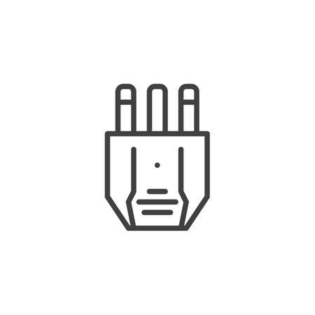 Type K electric Plug line icon. linear style sign for mobile concept and web design. Power plug outline vector icon. Symbol, logo illustration. Vector graphics